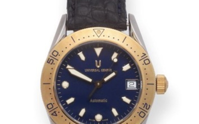 A Steel and Gold Automatic Calendar Centre Seconds Wristwatch, signed...