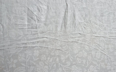A TABLE CLOTH, linen damask, ca 209,5 x 116-118 cm, embroidered and dated: GGS BMB, Gyllenstierna's and Banér's conjugal