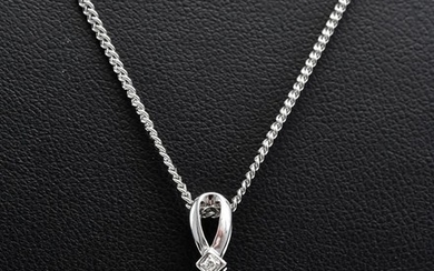 A TAHITIAN PEARL (12.8MM) AND DIAMOND PENDANT IN 18CT WHITE GOLD