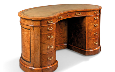 A VICTORIAN BURR-WALNUT AND TULIPWOOD-BANDED KIDNEY-SHAPED DESK