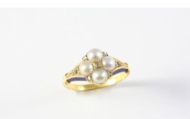 A VICTORIAN DIAMOND, PEARL AND ENAMEL CLUSTER RING the quatr...