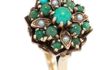 A VINTAGE 9CT GOLD TURQUOISE AND PEARL RING; princess style cocktail ring set with cabochon turquoise and seed pearls, size R, wt. 5...
