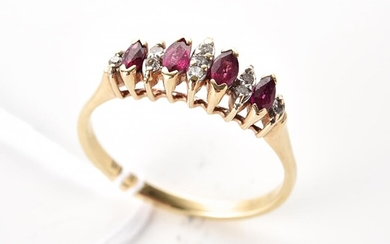 A VINTAGE RUBY AND DIAMOND RING IN 9CT GOLD, SIZE T, 2.5GMS