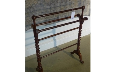 A Victorian mahogany towel rail, in good polished condition