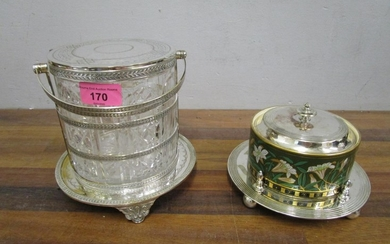 A Victorian silver plated and cut glass biscuit barrel, and ...