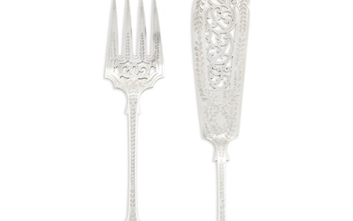 A Victorian sterling silver two-piece fish server Frederick Elkington,...