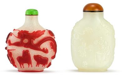 A WHITE JADE 'BOYS' SNUFF BOTTLE AND A RUBY OVERLAY GLASS 'DRAGON' SNUFF BOTTLE QING DYNASTY