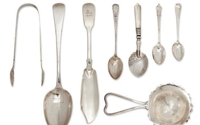 A collection of silver flatware, including six...