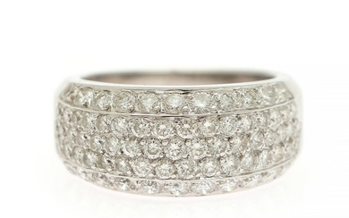A diamond ring set with numerous brilliant-cut diamonds totalling app. 1.35 ct., mounted in 18k white gold. Size 54.