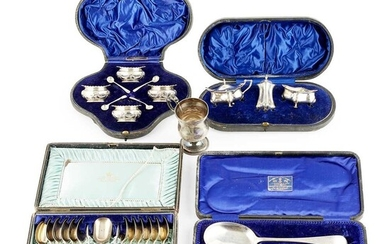 A group of various cased silver sets