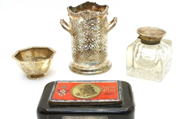 A large Edwardian crystal glass and silver mounted inkwell
