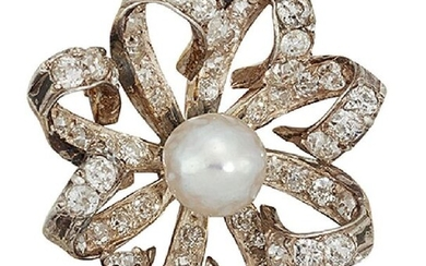 A late 19th century natural pearl and diamond...