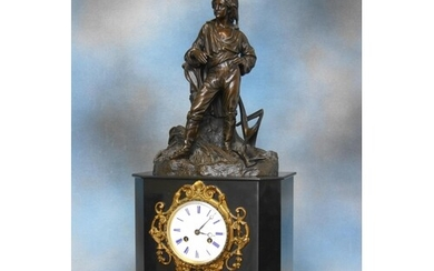 A late 19th century slate mantel clock, French movement stri...