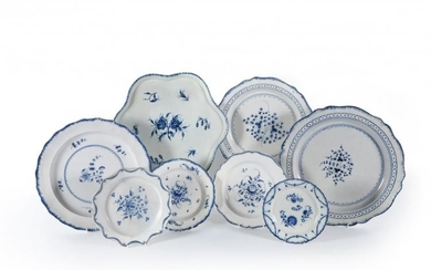 A miscellaneous selection of Staffordshire blue and white painted domestic pearlware
