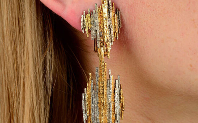 A pair of 1970s 18ct gold, bi-colour textured earrings, with detachable drop, by Charles de Temple.