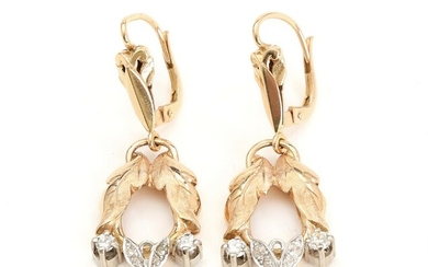 SOLD. A pair of Italian diamond earrings set with brilliant- and single-cut diamonds, mounted in...