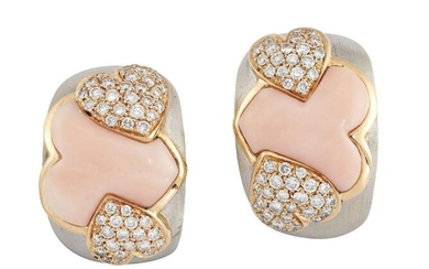 A pair of pink coral and diamond...