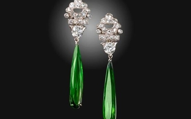 A pair of tourmaline and diamond drop earrings, the upper sections set with graduated circular-cut diamonds, suspending elongated pear-shaped green tourmalines in white gold, post fittings, 4.2cm high