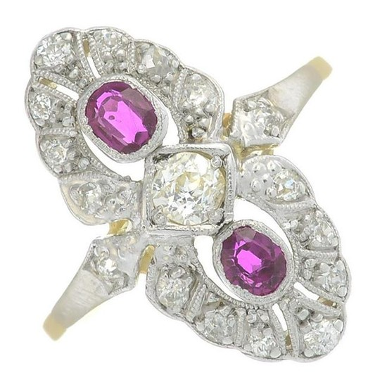 A ruby and diamond dress ring.Total ruby weight