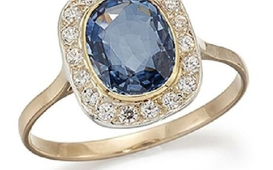 A sapphire and diamond cluster ring, the oval...