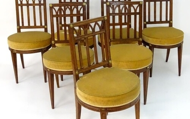 A set of eight 19thC French dining chairs with squared backs...