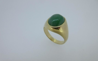 A signet ring set with jade,