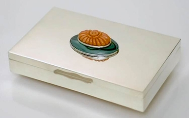 A sterling silver casket, the lid decorated with malachite and...