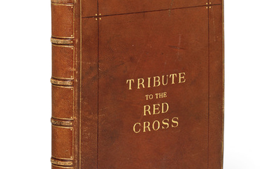 ALBUM AMICORUM – 'Tributes to the Red Cross, collected by Sir John Squire and Viscount Sudley', album containing artwork, autograph quotations and signatures from artists, writers, politicians and royalty, [Britain], 1941-1944.,