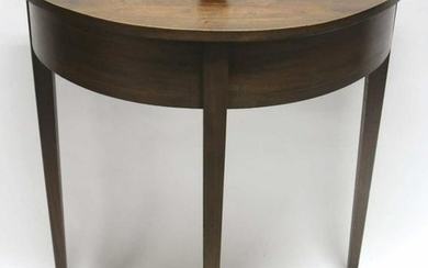 AMERICAN SOUTHERN WALNUT INLAID DEMI LUNE TABLE