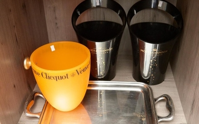 AN ALESSI TRAY AND A PAIR OF MOET & CHANDON AND VEUVE CLICQUOT ICE BUCKETS