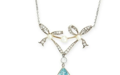 AN AQUAMARINE AND DIAMOND PENDANT NECKLACE in yellow