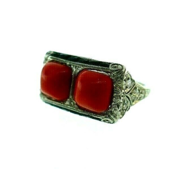 ART DECO Platinum, Coral, Diamond & Onyx Ring Circa