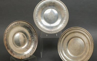 American Sterling Silver Round Plates, Group of 3