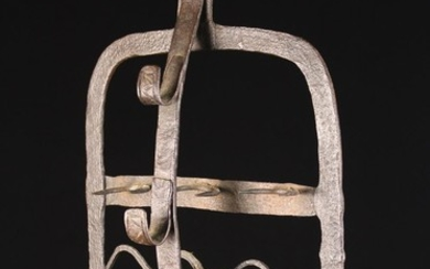 An 18th Century Wrought Iron Hanging Lark Spit/Harnen with spit hooks, approx 50 cm high, 33 cm wide