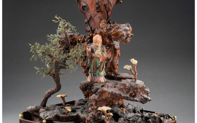 An Unusual Chinese Carved Hardwood Diorama of Shoulao in a Landscape