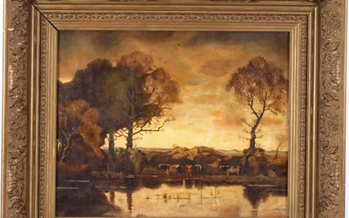 Anonymous, Landscape with cows on the waterfront