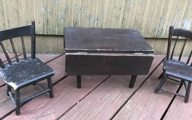 Antique 19th C Doll Size Pair of Chairs & Table