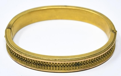 Antique 19th C Gold Topped Etruscan Style Bracelet