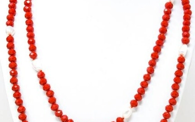 Art Deco Style Ruby Red & Baroque Pearl Necklace