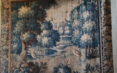 Aubusson, tapestry with a wooded landscape decorating a...
