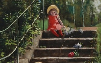 Augusta Jensen: Two small girls playing by a staircase in summertime. Signed. Oil. 78×44.5 cm.