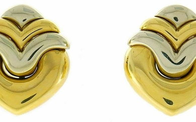 BVLGARI Gold Clip-on EARRINGS Authentic Signed Bulgari