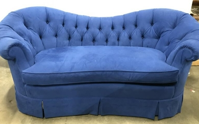 Blue Tufted Skirted Love Seat, Chesterfield Style