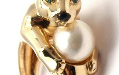 CARTIER Panther Panthere 18k Yellow Gold 8mm Pearl
