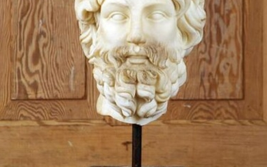 CARVED MARBLE HEAD OF CLASSICAL BEARDED MAN