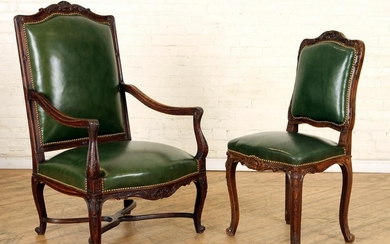 CARVED OAK FRENCH ARM CHAIR & MATCHING SIDE CHAIR
