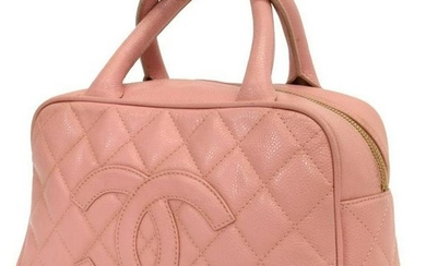 CHANEL 'BOSTON' QUILTED PINK LEATHER HANDBAG