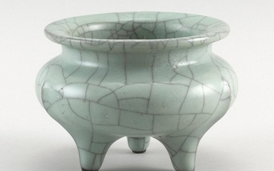 """CHINESE GUAN WARE PORCELAIN TRIFOOT CENSER In squat ovoid form. Height 4.5"""". Diameter 5.5""""."""
