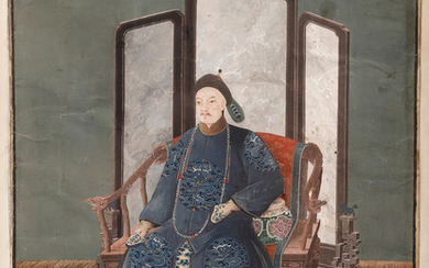 CHINESE SCHOOL, EARLY 19TH CENTURY. Portrait of Emperor Jiaquing.