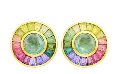 Capello Pair of Gold, Tourmaline and Colored Stone Earclips
